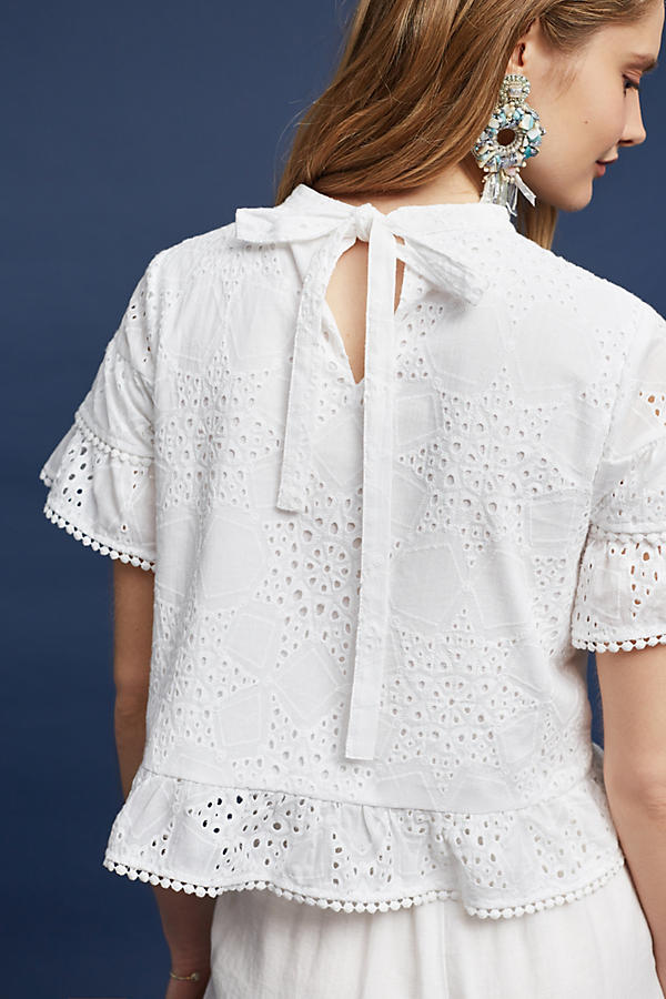 Slide View: 5: Emery Lace Top, White