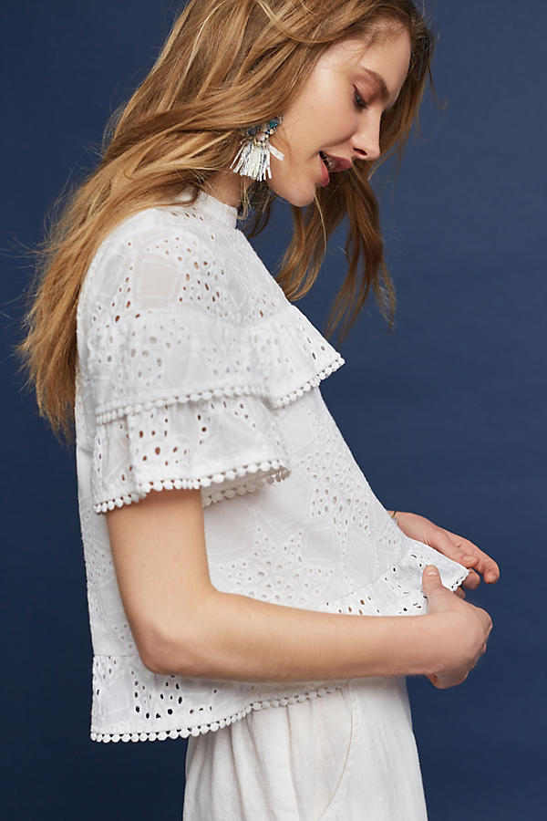 Slide View: 2: Emery Lace Top, White