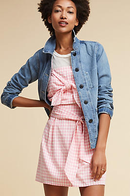 Slide View: 1: Tie-Front Gingham Tank