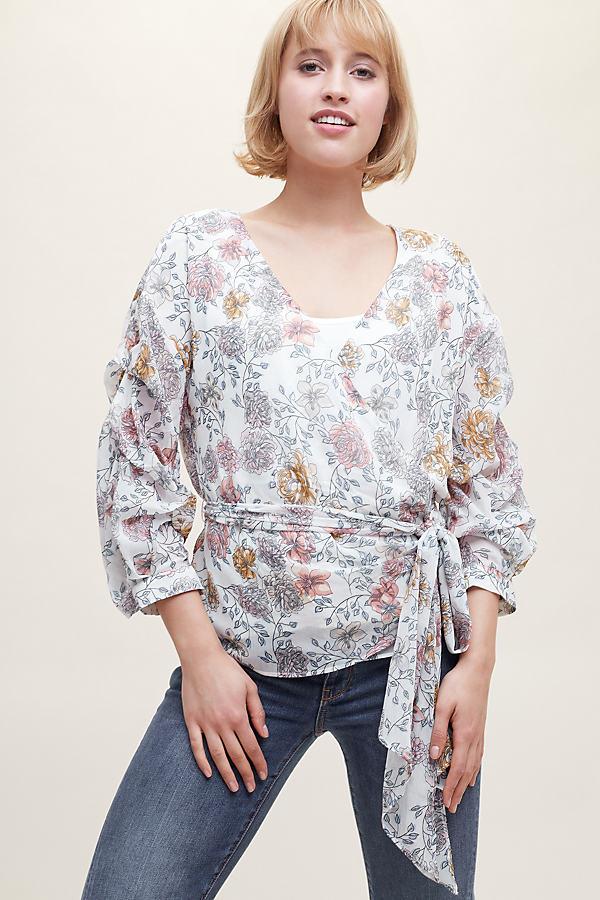 Constantina Floral Print Wrap Blouse - White, Size S