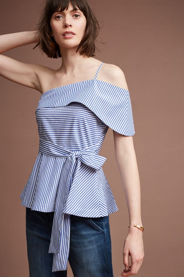 Maeve Mia One-Shoulder Blouse