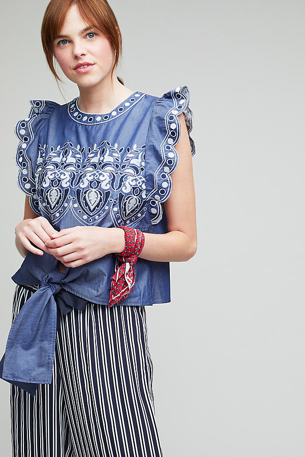 Dassie Embroidered Chambray Top - Navy, Size M