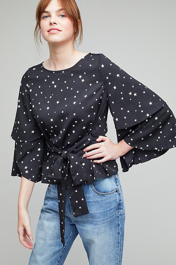 Imogen Star-Print Blouse, Black - Black Motif, Size Xs