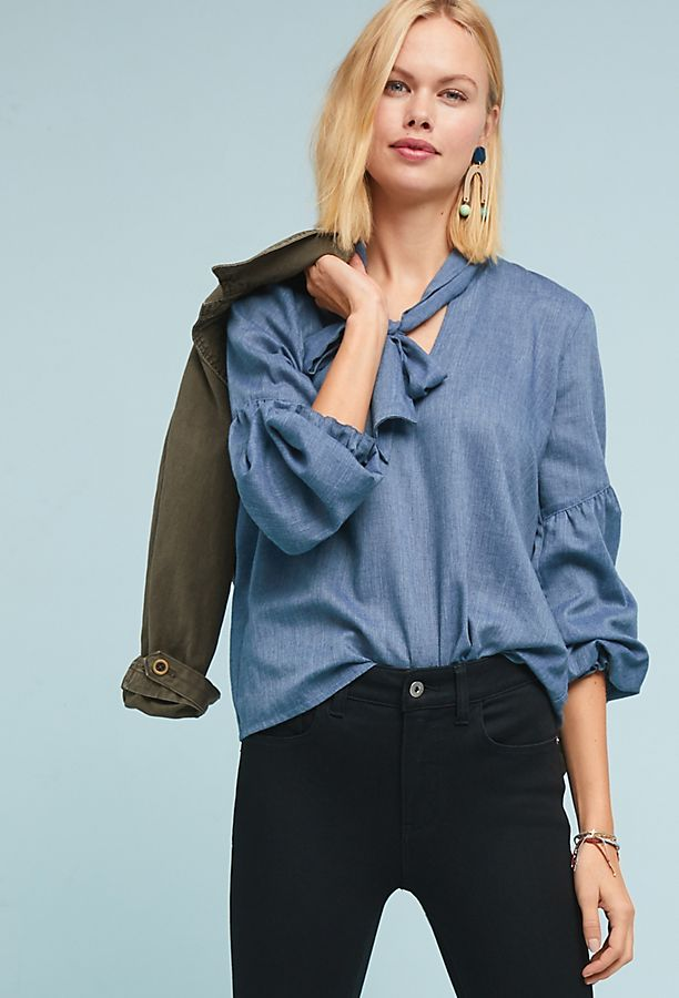 Chambray Tie-Neck Blouse | Anthropologie
