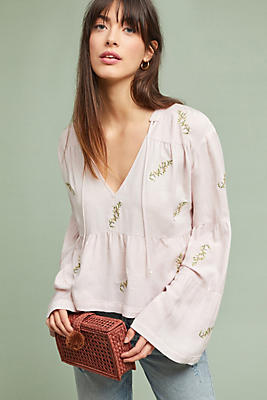 Slide View: 1: McGuire Rosa Tiered Peasant Top