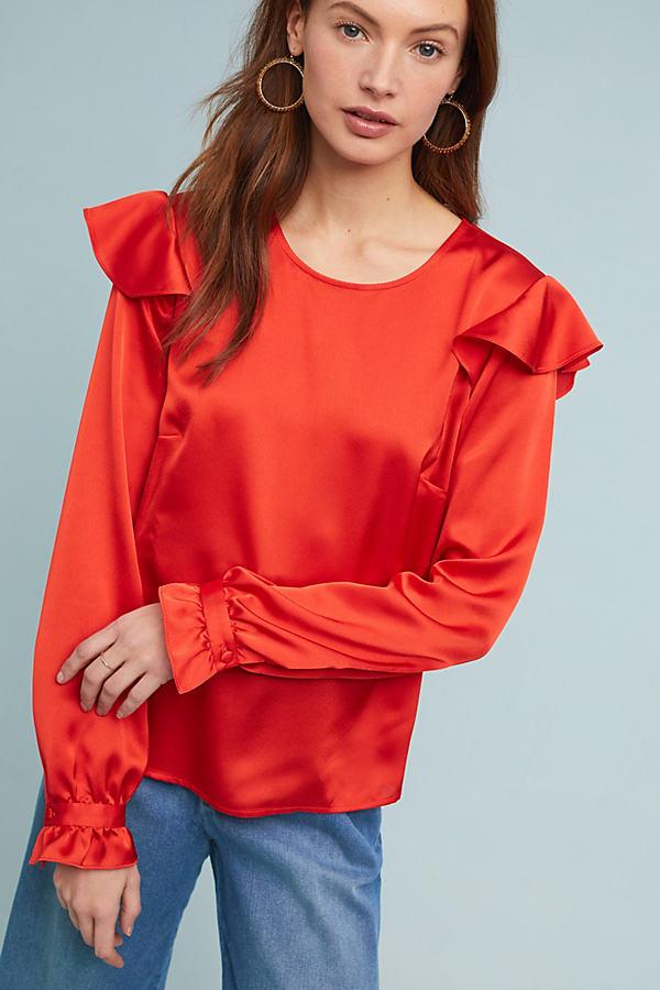 Morgan Ruffled-Satin Blouse - Red, Size Xl