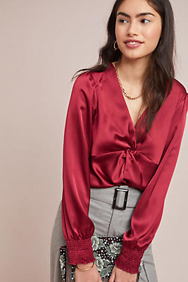 Slide View: 1: Knotted Satin Blouse