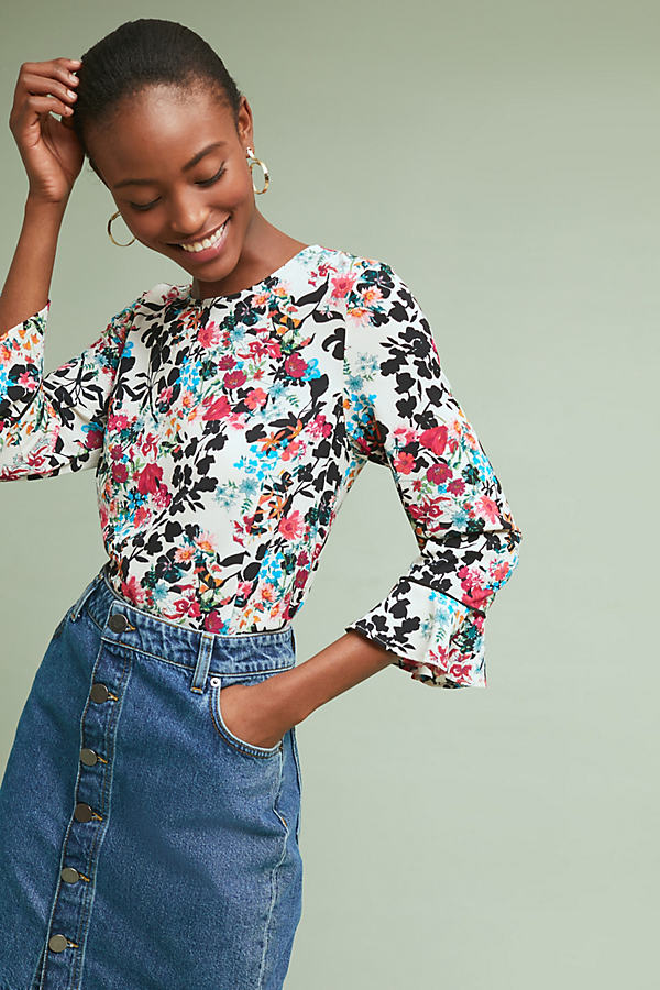 Juliet Floral-Print Ruffled Top - Assorted, Size S