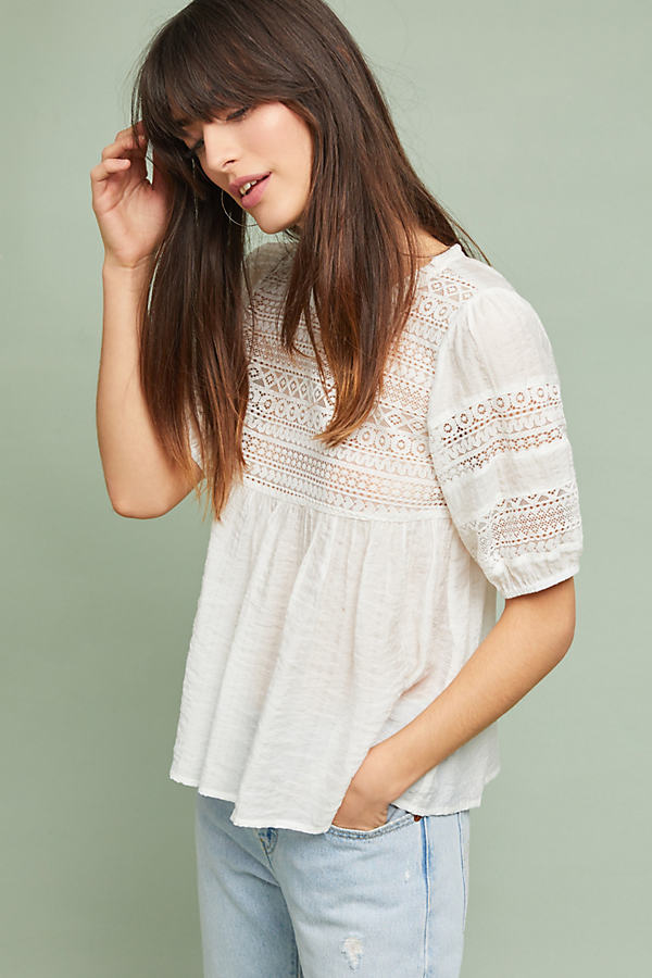 Adley Lace Top - White, Size Xs