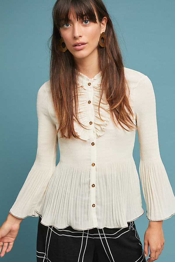 Alcott Ruffled Blouse - White, Size L
