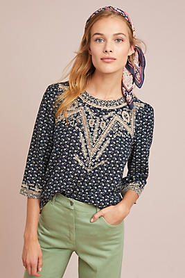 Slide View: 4: Chehalis Embroidered Blouse