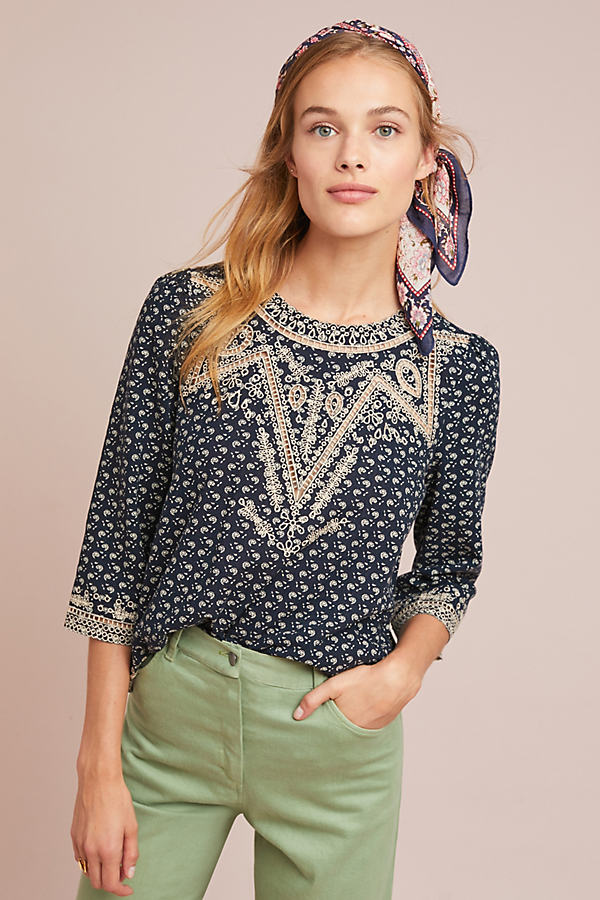 Bodil Printed-Embroidered Top - Assorted, Size Xl