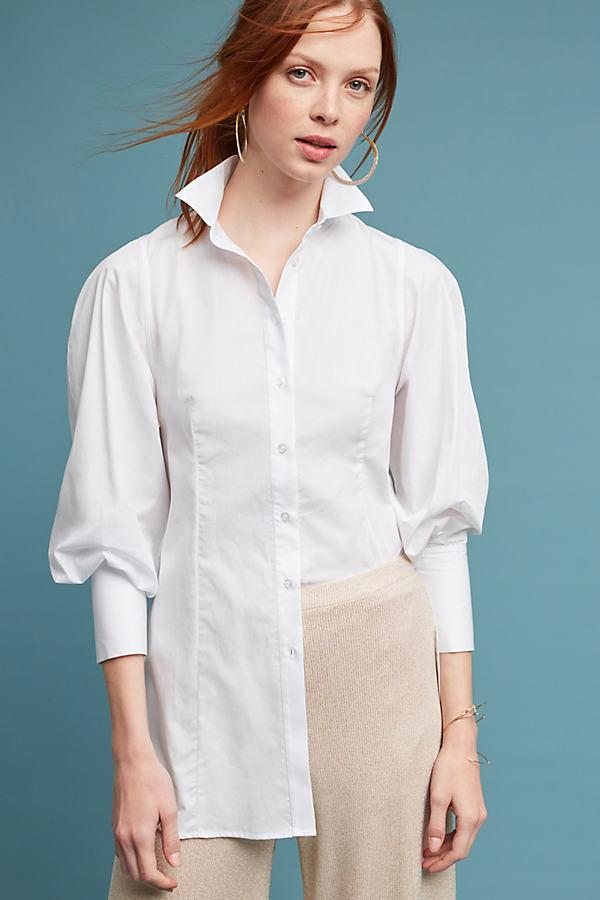 Harriet Poplin Shirt, White - White, Size 14