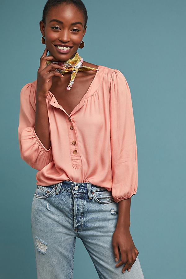 Kalas Henley Blouse - Orange, Size L