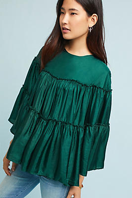 Slide View: 1: Tiered Silk Blouse
