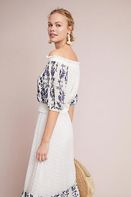 Slide View: 2: Mayfield Embroidered Off-The-Shoulder Blouse