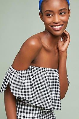 Slide View: 1: Luna Gingham Cropped Top