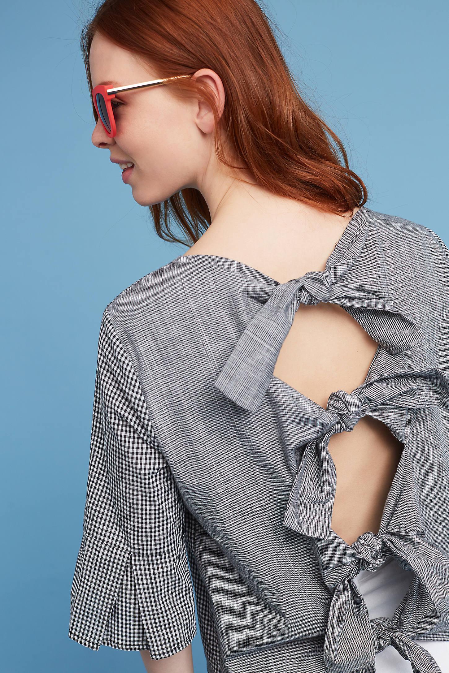 Fluttered Bow-Back Blouse