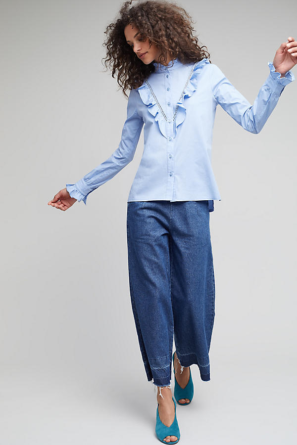 Slide View: 2: Soloman Ruffle Shirt, Blue
