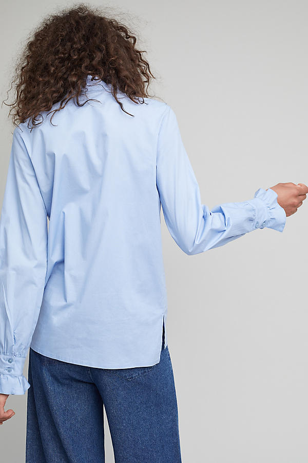 Slide View: 3: Soloman Ruffle Shirt, Blue