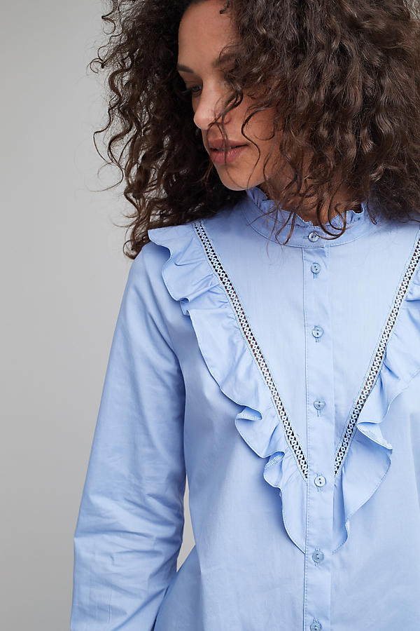 Slide View: 4: Soloman Ruffle Shirt, Blue