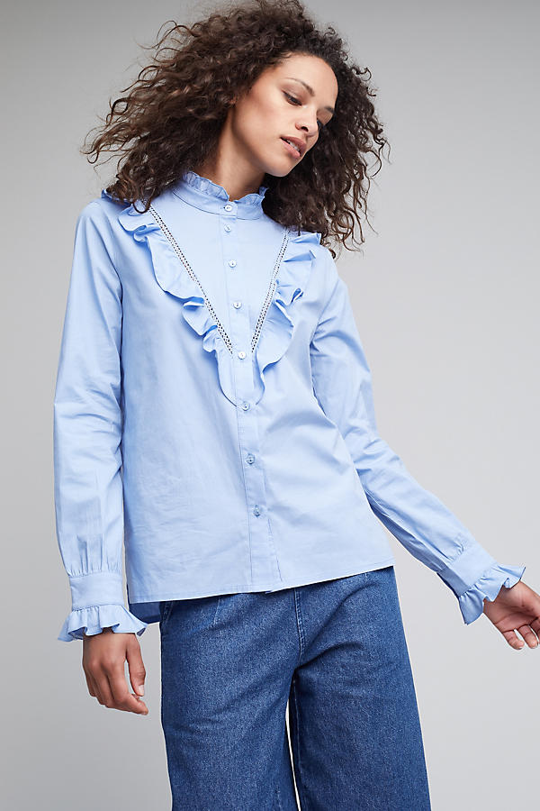 Slide View: 1: Soloman Ruffle Shirt, Blue