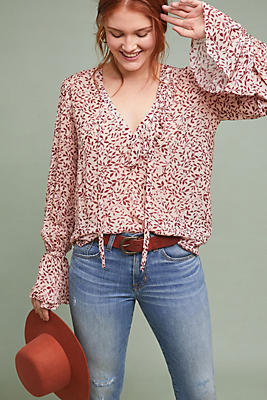 Slide View: 1: Anatolia Floral Peasant Top