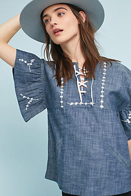 Slide View: 1: Denim Lace-Up Top