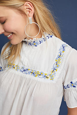 Slide View: 1: Hauswirth Embroidered Top