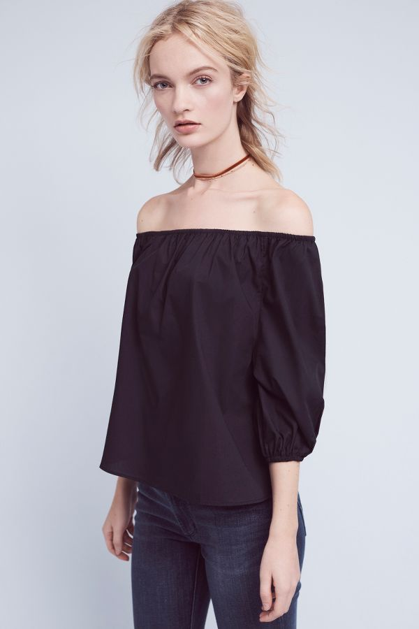 Maeve Poplin Off-The-Shoulder Blouse