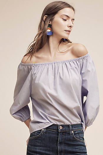 Poplin Off-The-Shoulder Blouse