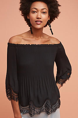 Slide View: 1: Lace-Trimmed Off-The-Shoulder Blouse