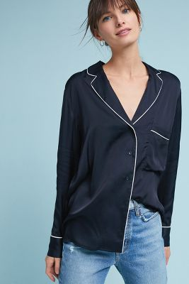 Just Female   Luxe Pajama-Style Buttondown  -    BLUE MOTIF