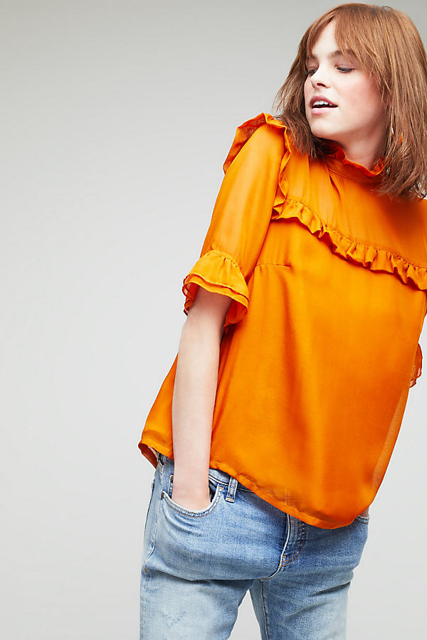 Ren Ruffle Top, Orange - Orange, Size Uk 8