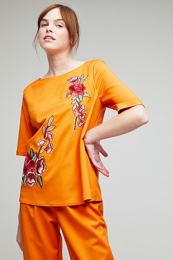 Camilla Floral Embroidered Top - Orange, Size Uk 8