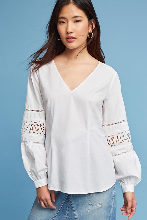 Leiyla Lace Cutout Blouse - Ivory, Size Uk 8