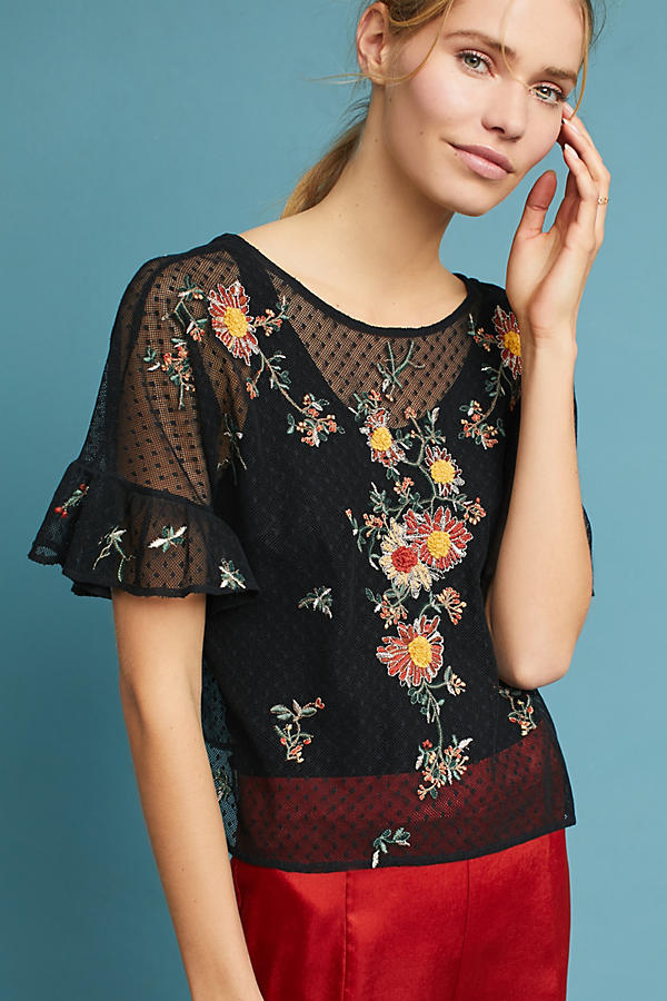 Slide View: 3: Embroidered Cadiz Top