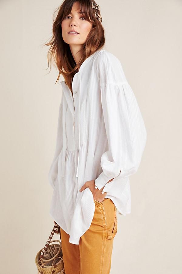 Lannie Textured Tunic - White, Size Uk 12