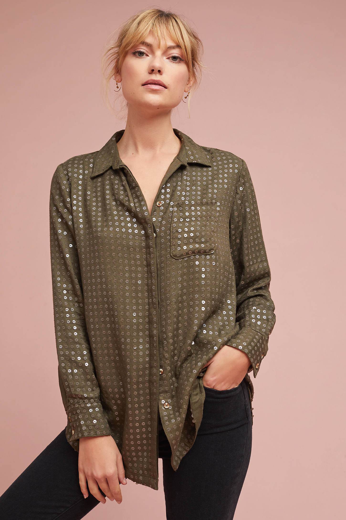 Sequined Buttondown