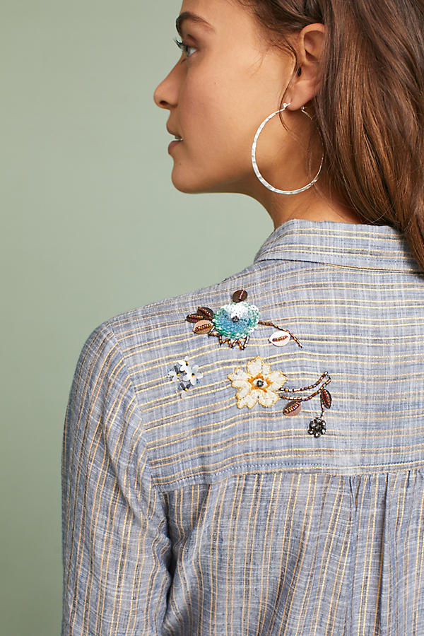 Slide View: 3: Ella Embroidered Peplum Shirt