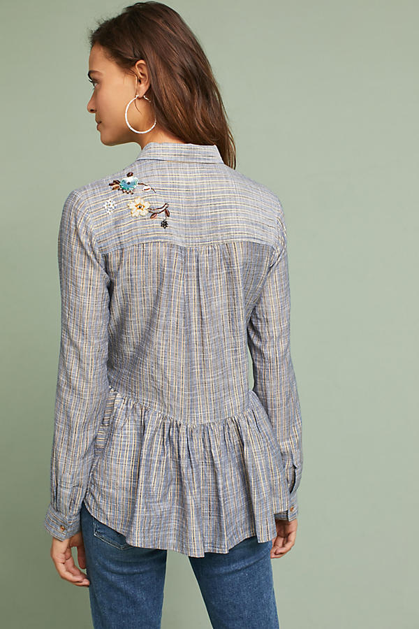 Slide View: 4: Ella Embroidered Peplum Shirt