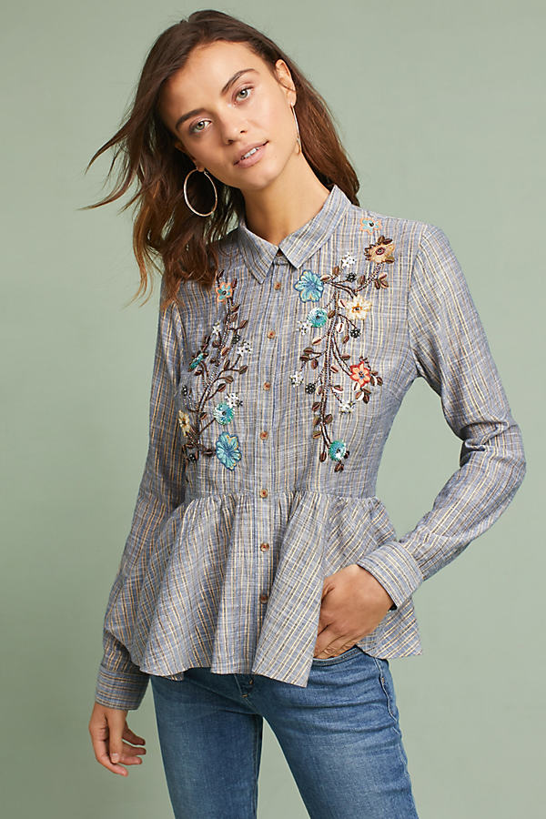 Ella Embroidered Peplum Shirt - Grey Motif, Size Xs