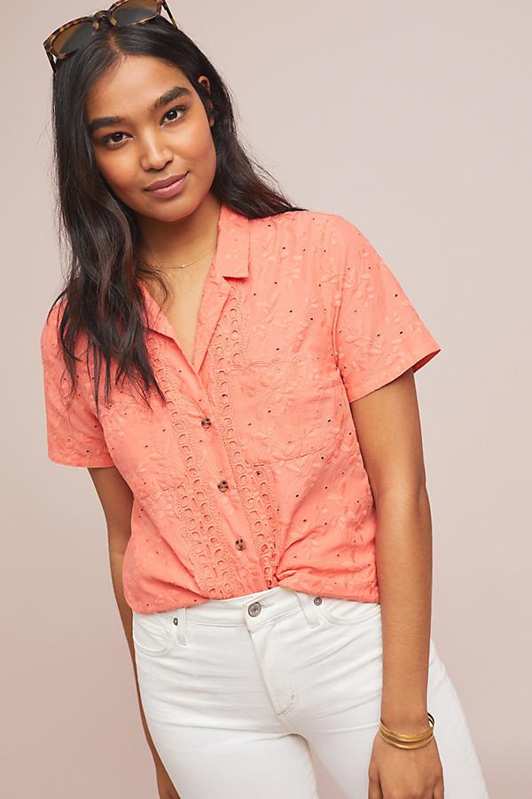 Guayabera Eyelet Shirt - Orange, Size Uk 16