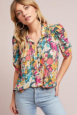 Slide View: 1: Printed Henley Blouse