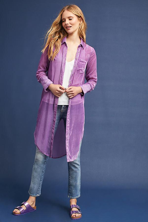 Callandra Long Velvet Shirt - Lilac, Size M