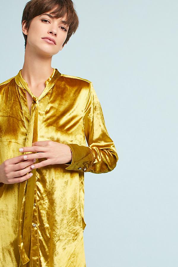 Tie-Neck Blouse - Gold, Size Uk 8