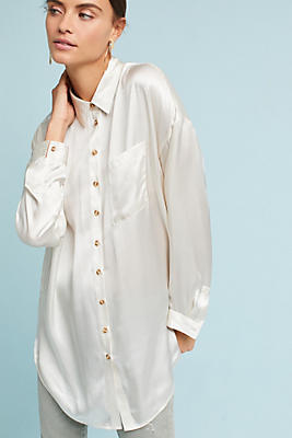 Slide View: 1: Silk Buttondown Tunic