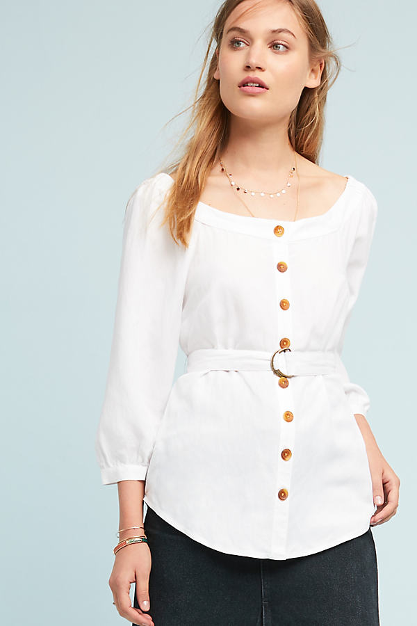 Alanis Belted Blouse - White, Size Uk 8