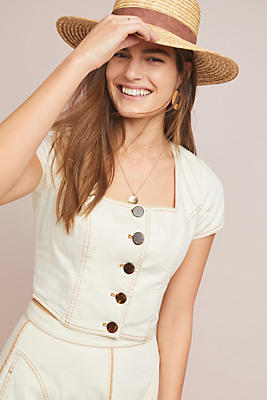 Slide View: 1: Parkland Button-Front Denim Top