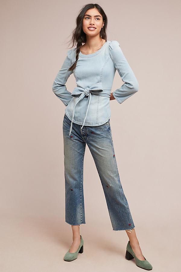 Pilcro Claudine Denim Blouse - Blue, Size Uk 6